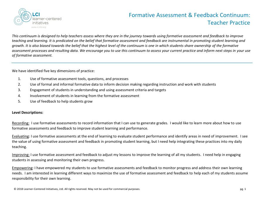 Formative Assessment and Feedback Continuum: Teachers